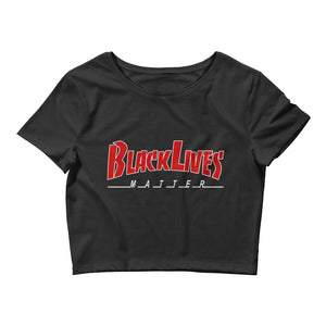 BLM Red and White Women's Crop Tee
