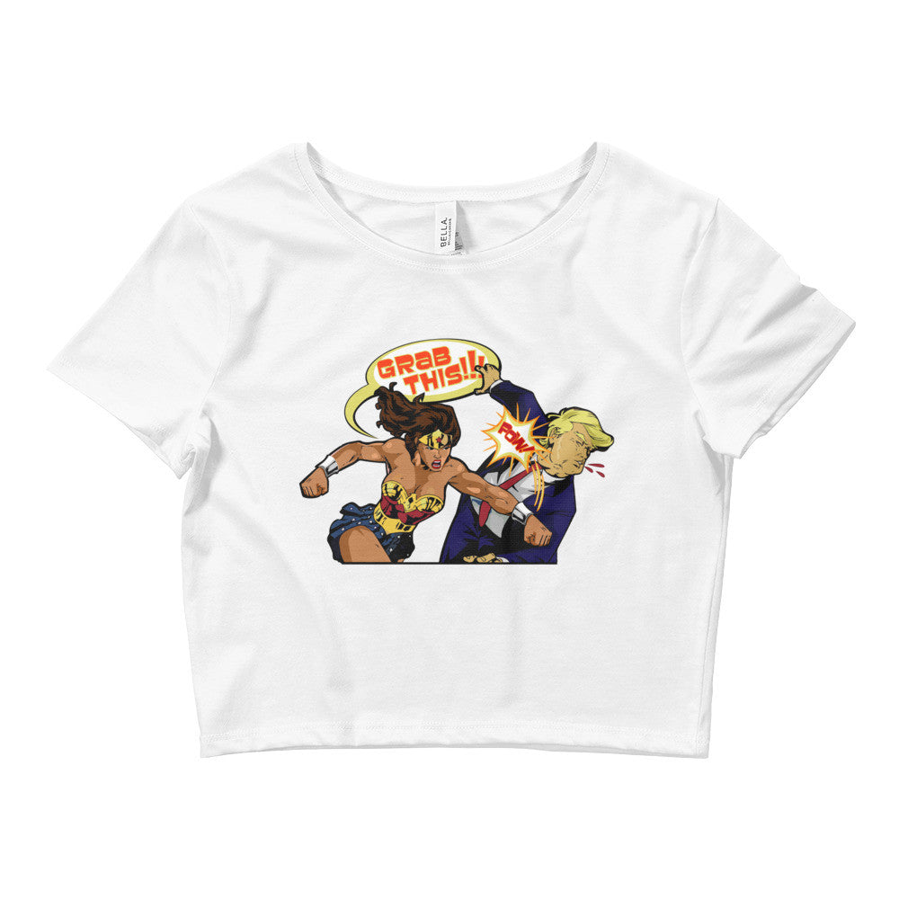 Wonder Women Punching Trump Crop Tee