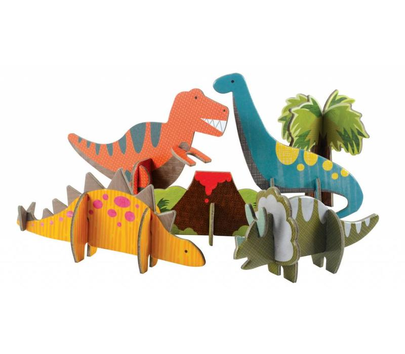 PETIT COLLAGE Pop-out puzzel - Dinosaurussen +4j
