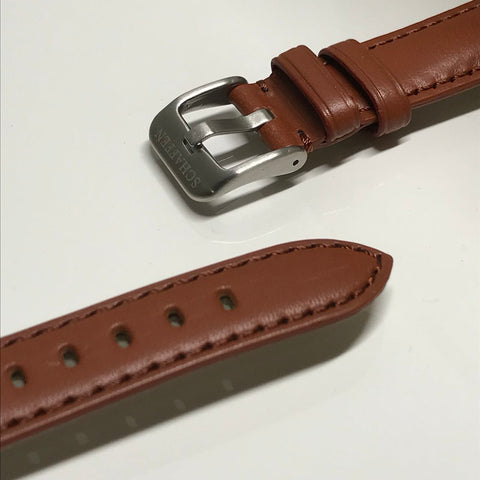 18mm Tan Brown Calf Leather Strap (Top-grain Leather)