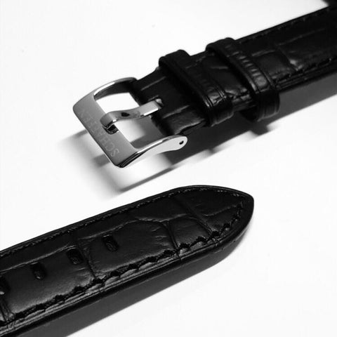 20mm Noir Black Calf Leather Strap (Gator-grain Design)