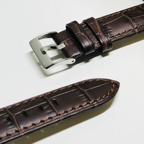20mm Dark Brown Calf Leather Strap (Gator-grain Design)