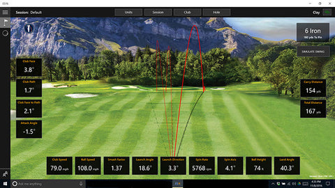 Ernest Sports ES16 Tour Launch Monitor & Golf Simulator On Screen Look