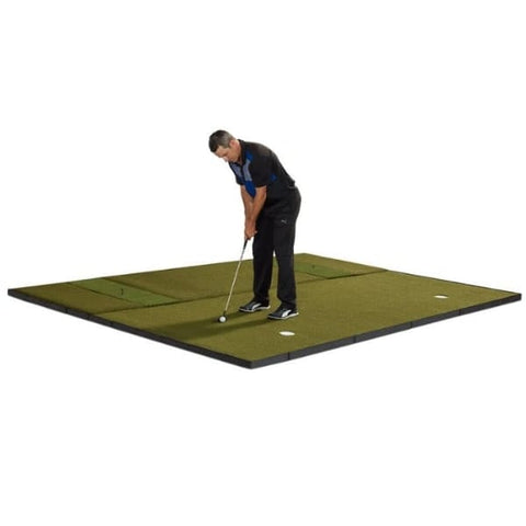 Fiberbuilt Combo Golf Mat & Putting Green - Center Stance (10' x 10')
