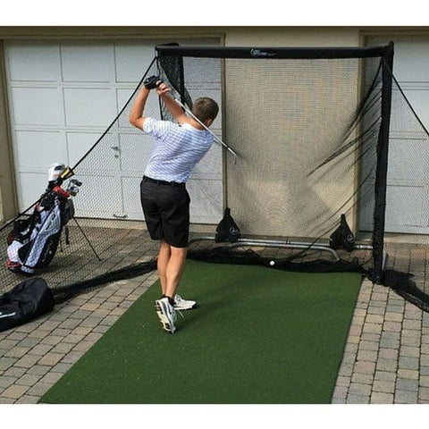 net return home golf package with side barriers and pro turf mat in driveway
