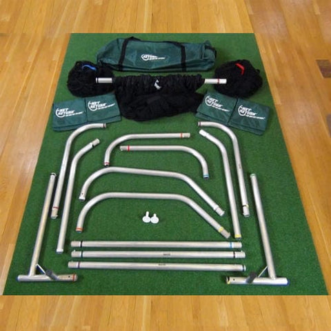 net return home golf frame sandbags duffel netting on pro turf mat