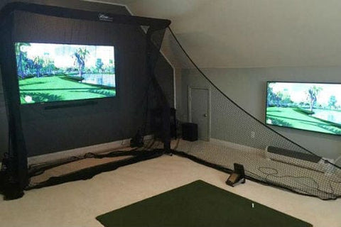 net return home golf package pro turf mat side netting in basement rec room