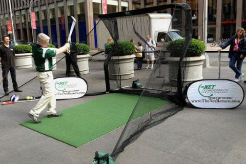 net return home golf pro turf mat side netting at pga show