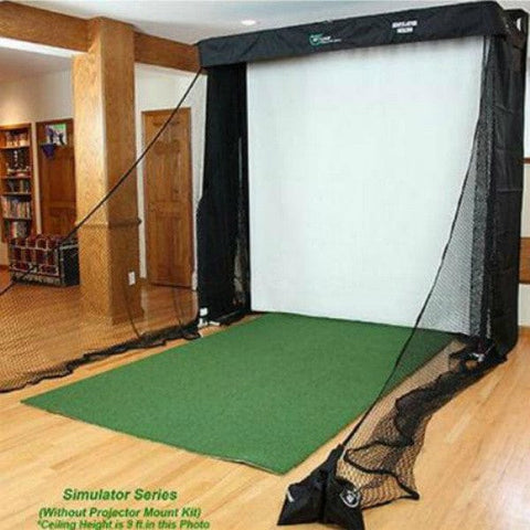 net return golf simulator series with projector mount and turf mat