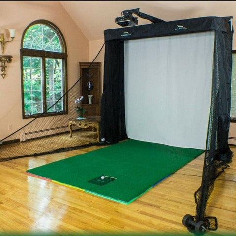 net return golf simulator series with projector mount turf and optishot