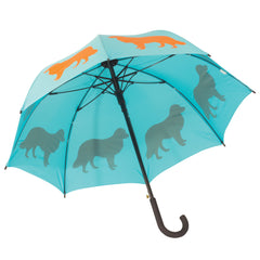 Border Collie Umbrella Orange on Light Blue Green - sfumbrella.ca