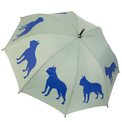 Boston Terrier Umbrella Royal Blue on Sage Green - sfumbrella.ca