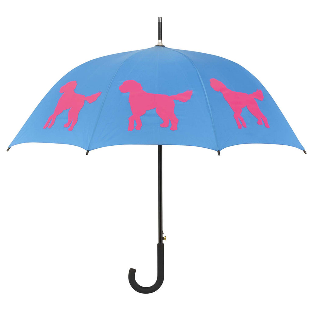 Doodle Umbrella Red on Blue - sfumbrella.ca