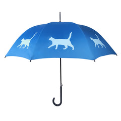 Cat Umbrella Pale Blue on Egyptian Blue - sfumbrella.ca