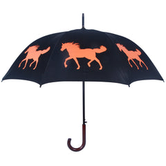 Horse Umbrella Orange on Black - sfumbrella.ca