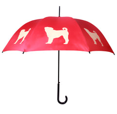 Pug Umbrella Fawn on Red - sfumbrella.ca