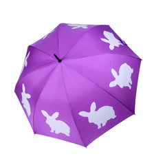 Rabbit Umbrella White on Purple - sfumbrella.ca