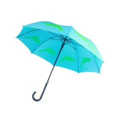 Dolphin Umbrella Green on Light Blue - sfumbrella.ca