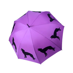 Wolf Umbrella Black on Purple - sfumbrella.ca