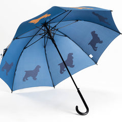 Cocker Spaniel Umbrella Beige on Navy Blue - sfumbrella.ca