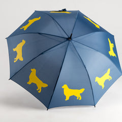 Golden Retriever Umbrella Gold on Navy Blue - sfumbrella.ca