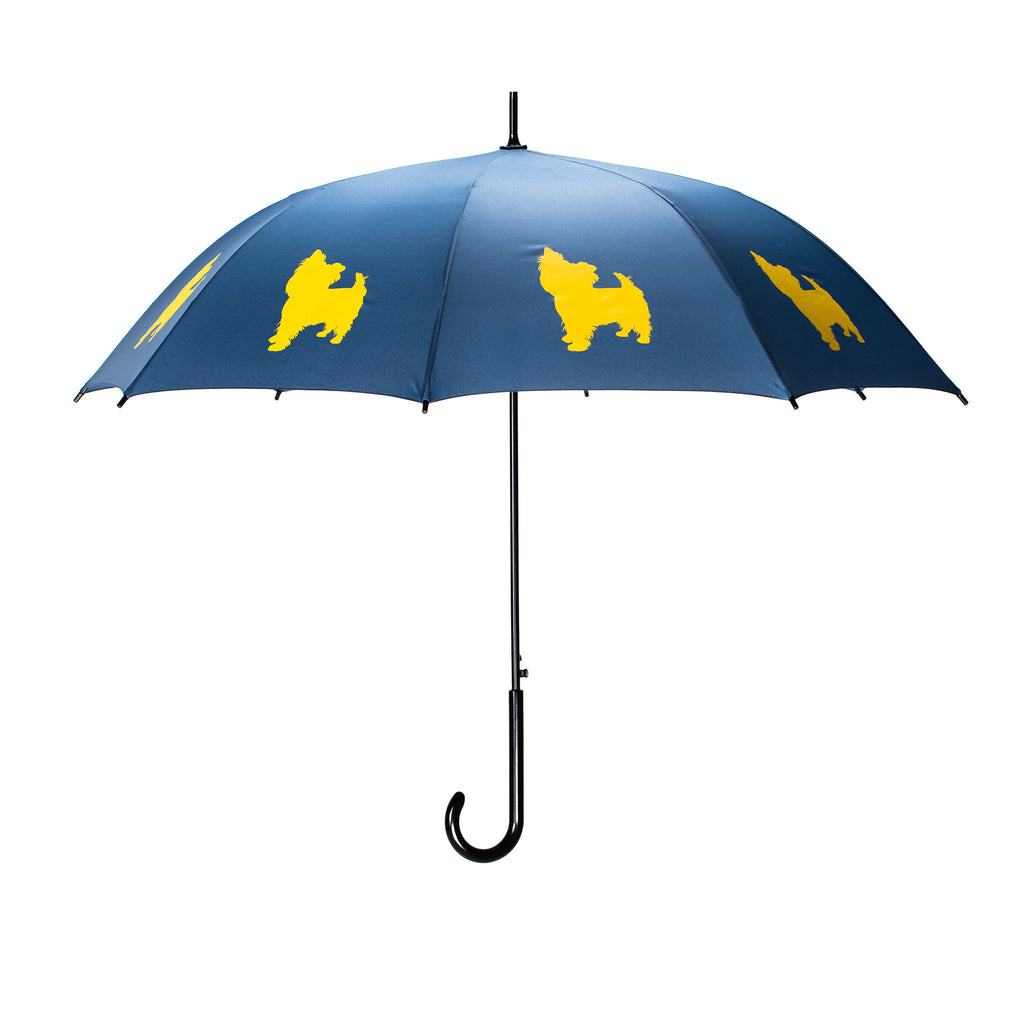Yorkshire Terrier Umbrella Yellow on Navy Blue - sfumbrella.ca