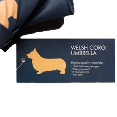Welsh Corgi Umbrella Tan on Navy Blue - sfumbrella.ca