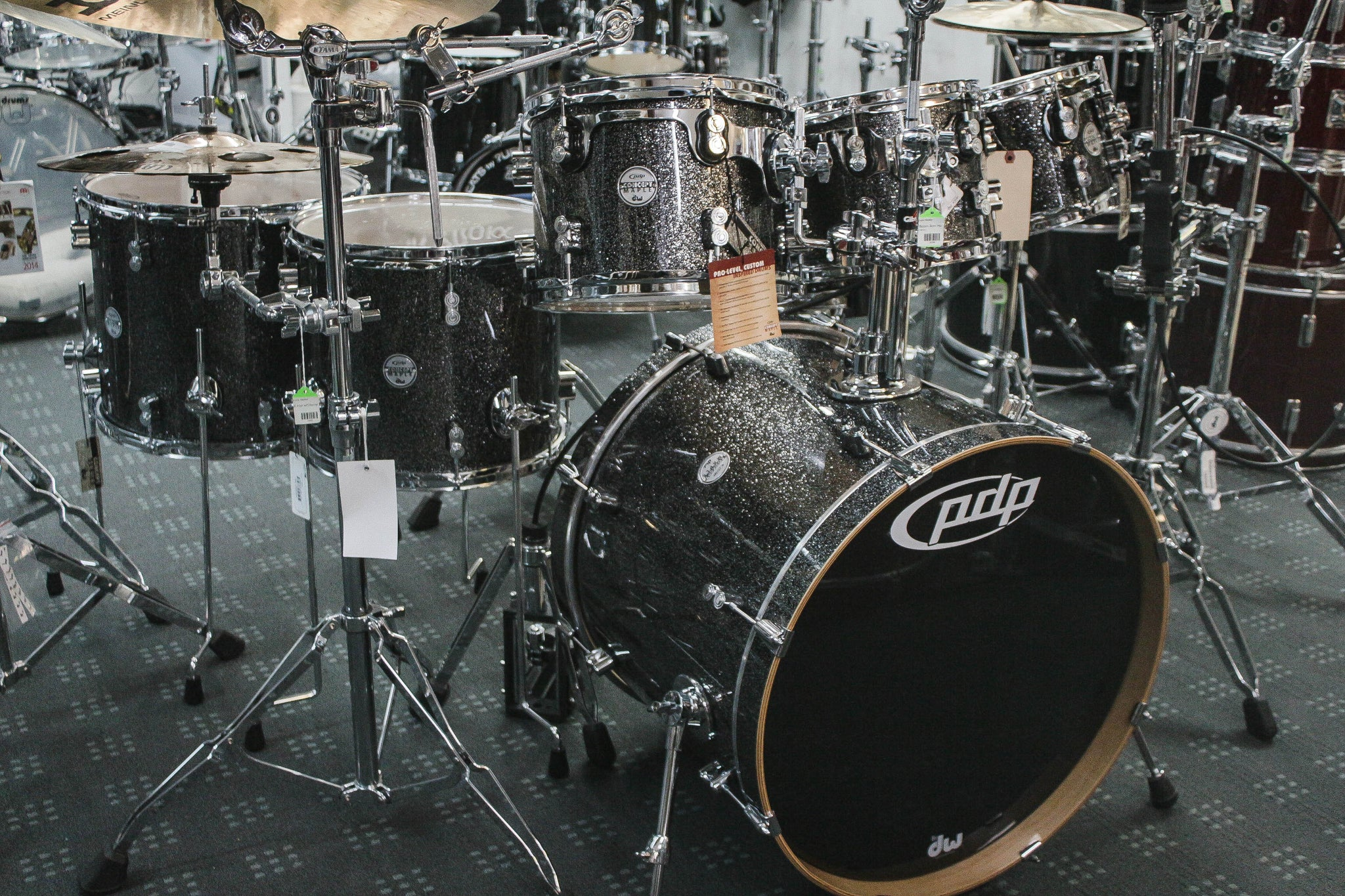 PDP Concept Series Maple 7 Piece Drum Set Black Sparkle