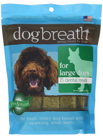 Herbsmith, Dog Breath Dental Treats for Large Dogs, 15 chews