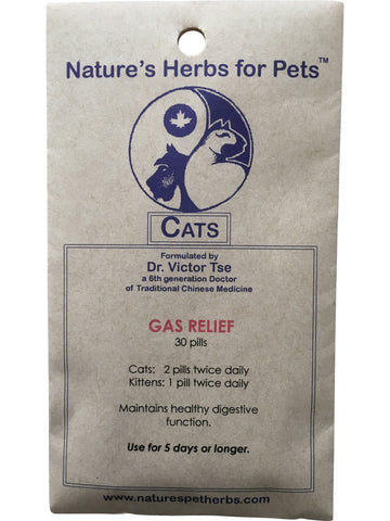 Natures Herbs for Pets, Gas Relief for Cats, 30 ct
