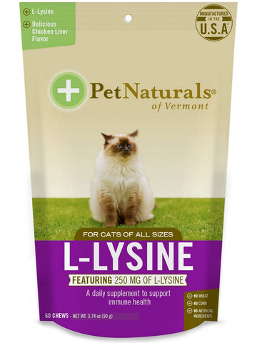 Pet Naturals of Vermont, L-Lysine Chews for Cats, 60 chews
