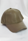 fifth ave faux leather cap - dark khaki