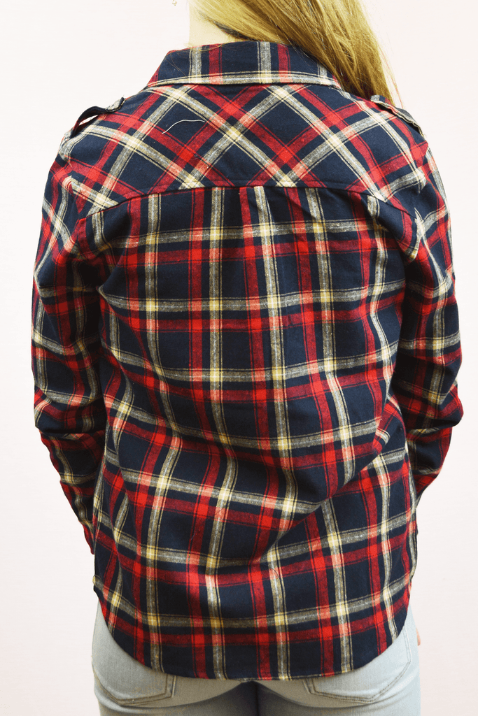 classic roll sleeve flannel - navy