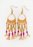 triple threat earrings - pink/gold