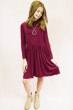 lil' belle mock neck dress - maroon