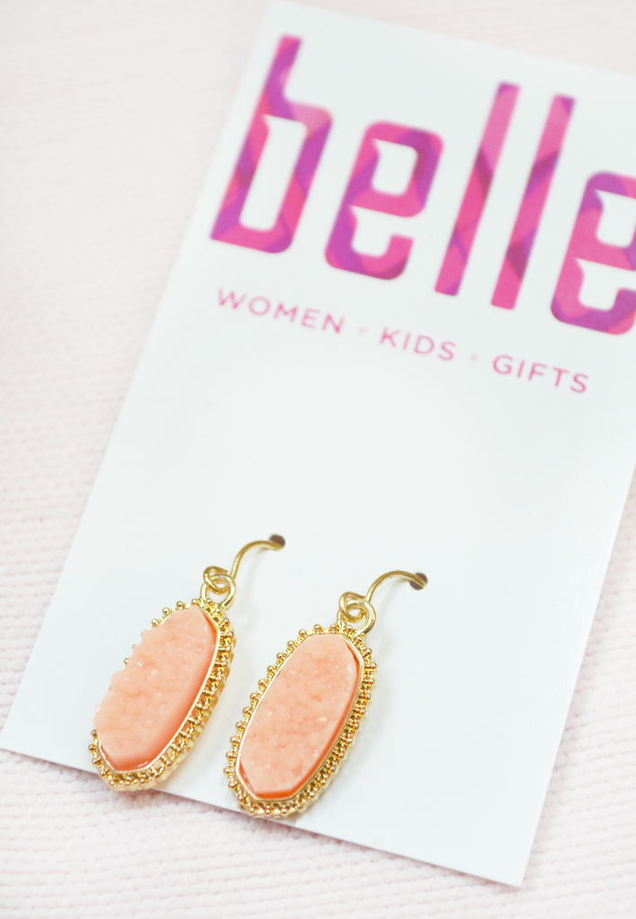 classic oval druzy earrings - coral