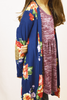 floral cardigan w/ elbow patch - navy
