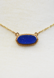 dainty druzy necklace-blue/gold