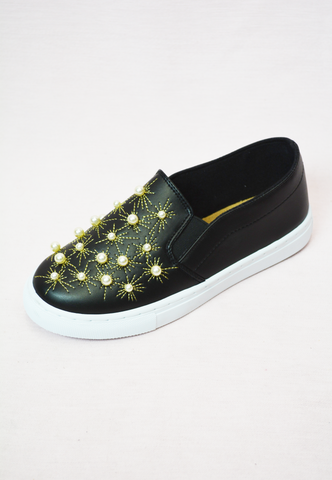 leopard slip ons - brown/black