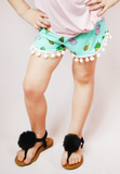 lil' belle pineapple pom shorts - mint