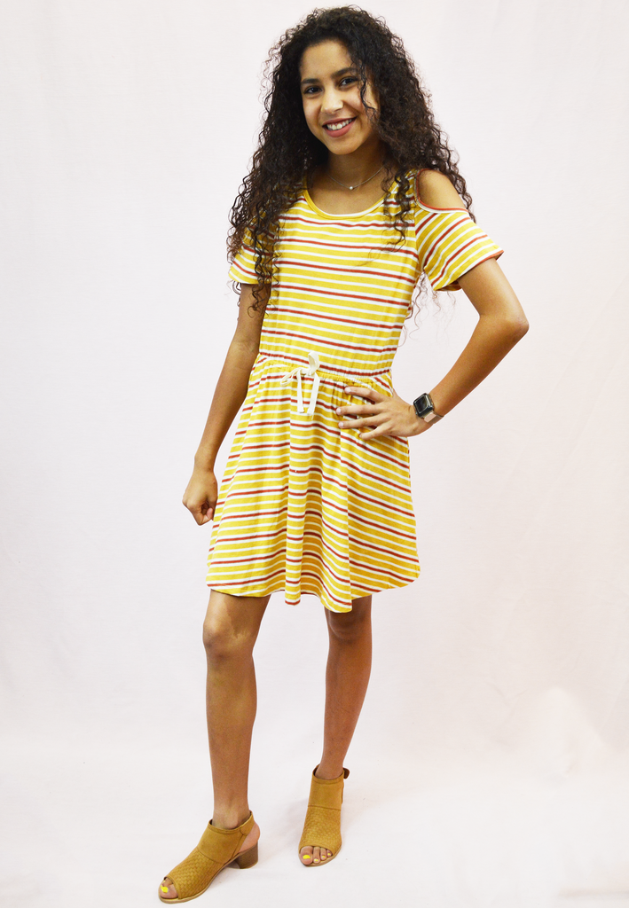 truth or dare striped cutout dress - mustard