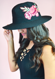 rose embroidered beach hat - black/brown