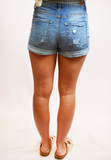 High Rise Denim Shorts- Medium Light