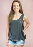 no secrets distressed tank-black