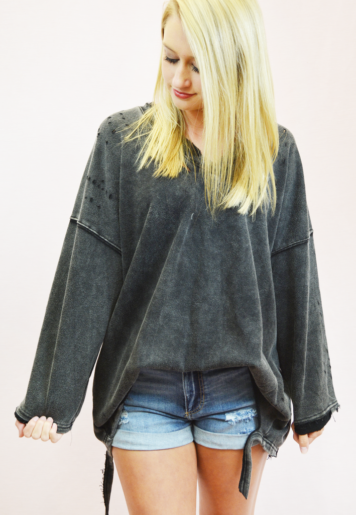 all mine distressed pullover - charcoal