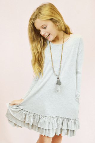 lil' belle heathered babydoll top - grey