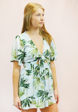 tropical vibes romper - blue/green