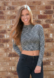 messy mock neck crop top - black