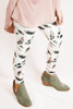 leaf printed leggings - ivory