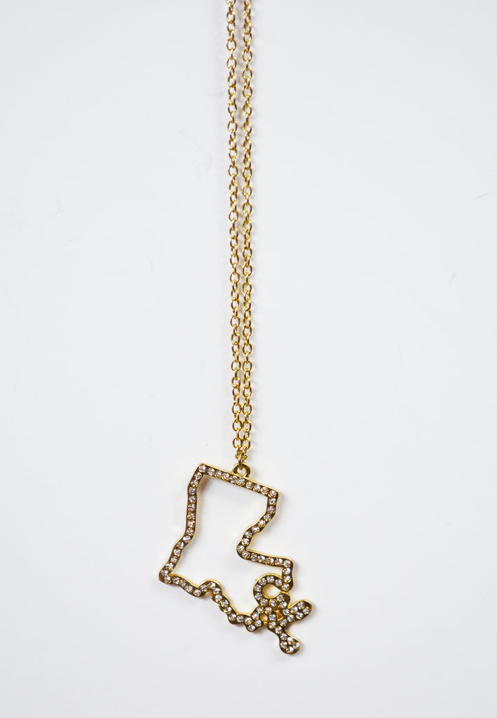 louisiana diamond outline necklace